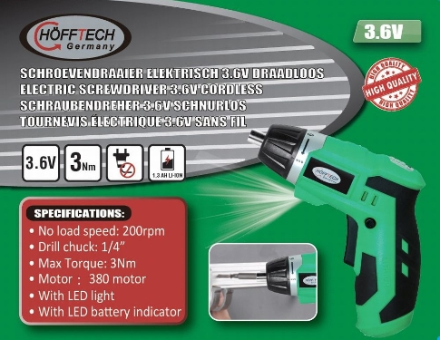 Hofftech Germany Avvitatore Senza Fili Con Batteria 3.6 V